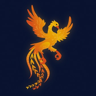 Fantastic myth phoenix creature hand drawn