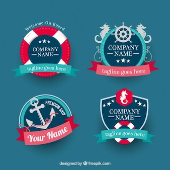 Fantastic nautical badges with decorative ribbons