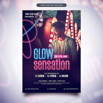 Fantastic neon effect flyer poster template