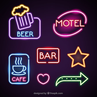 Fantastic neon lights placards for establishments