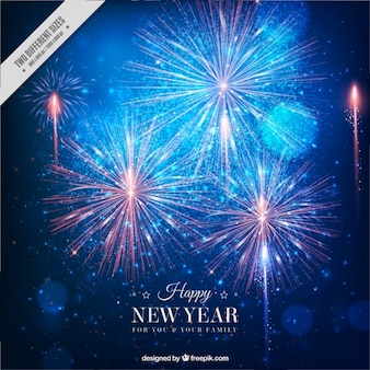 Fantastic new year background with bright fireworks