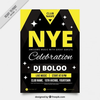 Fantastic new year's eve leaflet with yellow details