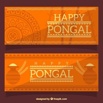 Fantastic orange pongal banners in flat design