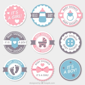 Fantastic pack of round baby shower badges