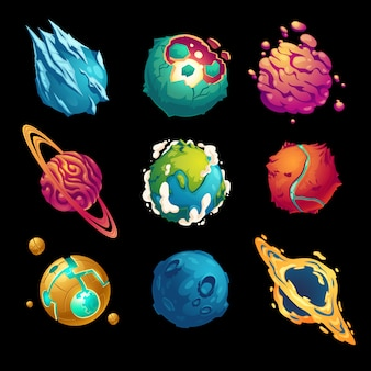 Fantastic planets cartoon galaxy ui game asteroids