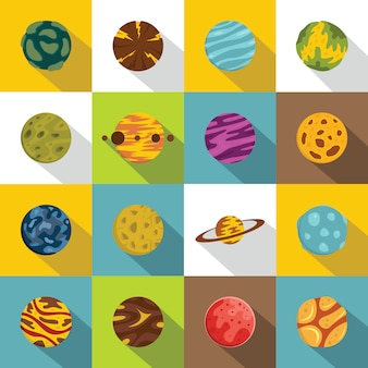 Fantastic planets icons set, flat style