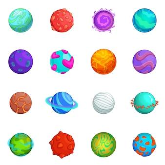 Fantastic planets icons set