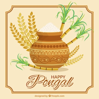 Fantastic pongal background with rice and sugarcane