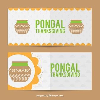 Fantastic pongal banners with orange details
