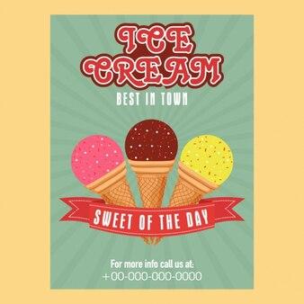 Фантастический шаблон плакат с тремя мороженого