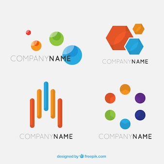 Fantastic psychology logos with colorful abstract figures