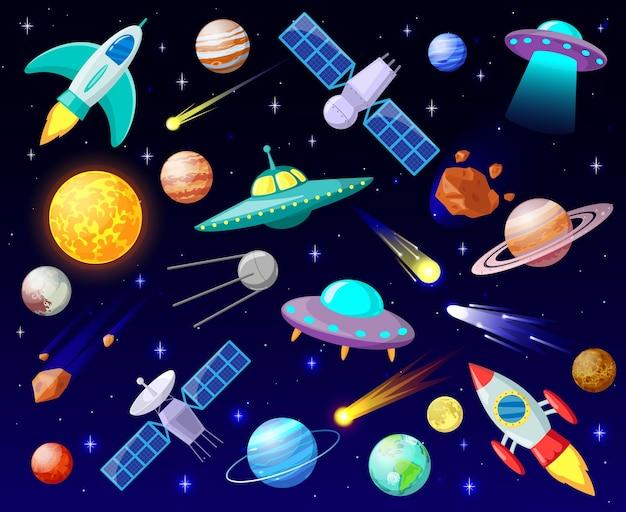 幻想的なロケットと未確認飛行物体