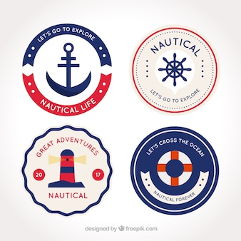 Fantastic round nautical badges with red details