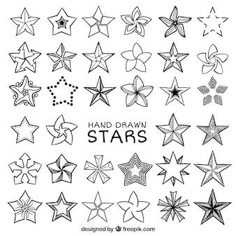 Fantastico set di stelle disegnate a mano