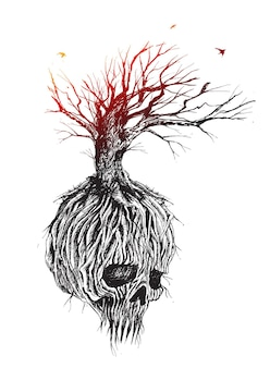 幻想的な頭蓋骨の木の根と枝手描きスケッチベクトル図