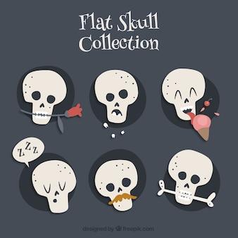 フラットなデザインの装飾品とファンタスティック頭蓋骨