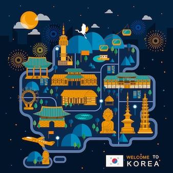 フラットスタイルの素晴らしい韓国の夜の旅行マップのデザイン