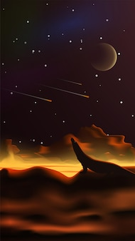 사실주의 스타일의 환상적인 공간 풍경. 용암 강. 하늘에 행성입니다. 떨어지는 유성을 바라보는 도마뱀의 실루엣. 수직 벡터 일러스트 레이 션.