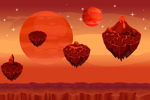 Fantastic space landscape, martian alien planet game seamless background.