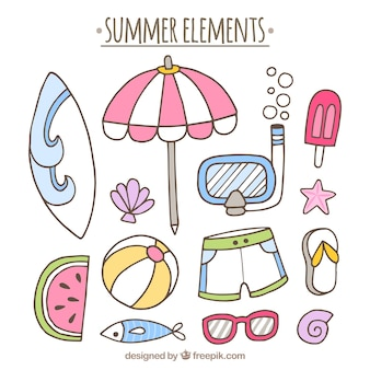 Fantastic summer elements in hand-drawn style