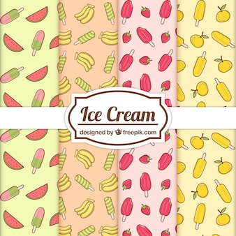 Fantastic summer patterns with fruits and ice creams