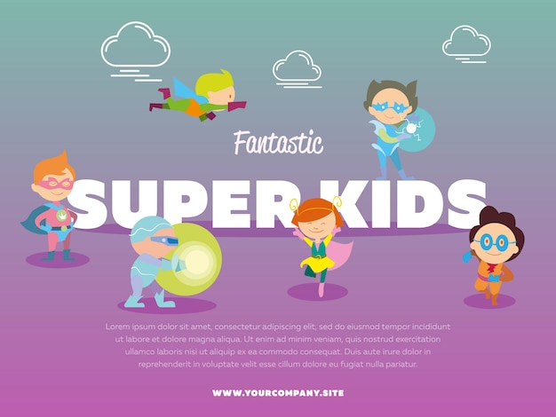 Fantastic super kids template with children