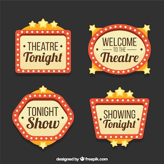 Fantastic theater signs with decorative stars