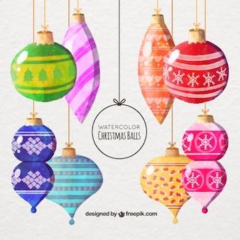 Фантастический акварель рождественские шары