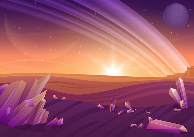 Фэнтезийный ландшафт пришельцев, другая природа планеты с камнями в полях и планеты в небе. игровой дизайн galaxy space.