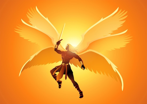 Fantasy artillustration of michael the archangel with six wings holding a sword