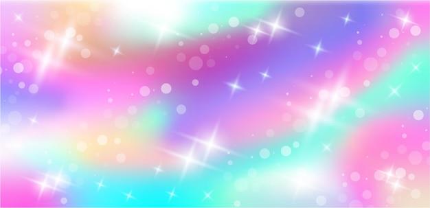 파스텔 색상의 판타지 배경 홀로그램 인어 패턴 별과 보케가 있는 하늘