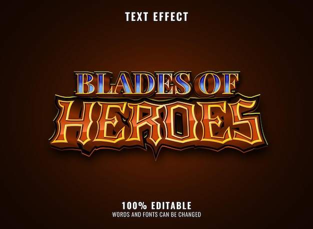 Fantasy blades of heroes blue diamond game logo title editable text effect