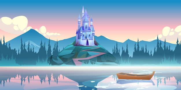 Фэнтезийный синий замок на скале утром