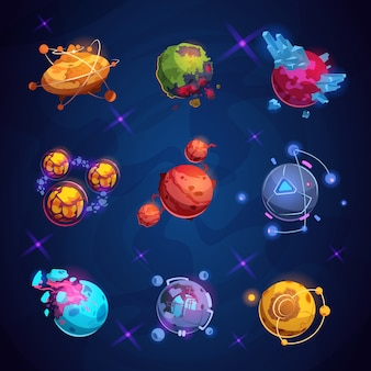 Fantasy cartoon planet. fantastic alien planets. space world game elements