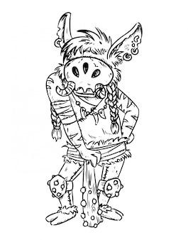 Fantasy cartoon troll outline
