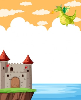 Fantasy castle with clouds for copyspace