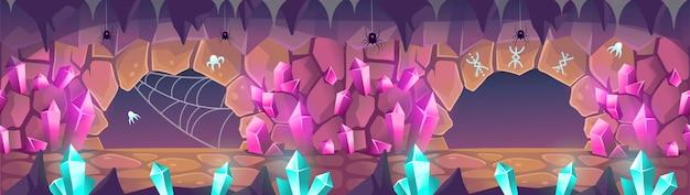 Фэнтезийная пещера с кристаллами, пауками и рунами мультяшныйа