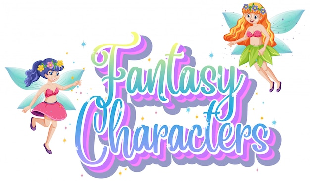 Fantasy characters logo with fairy tales on white background