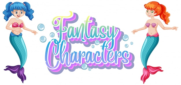 Fantasy characters logo with mermaids on white background