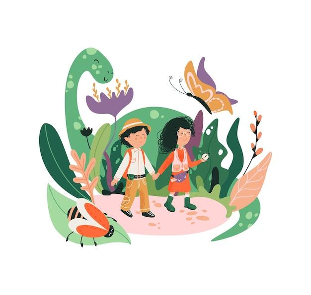 ファンタジーの子の世界のイラスト。子供の頃の世界。