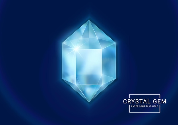 Fantasy crystal jewelry gems, polygon shape stone for game asset.