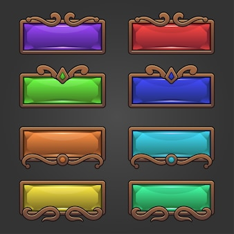 Fantasy design for game buttons set in square shape