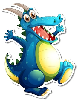 Fantasy dragon cartoon character sticker