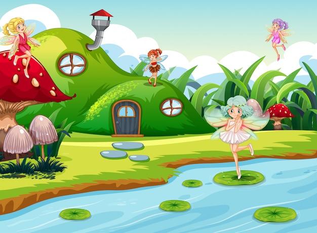 Фэнтезийные феи в зеленой сцене