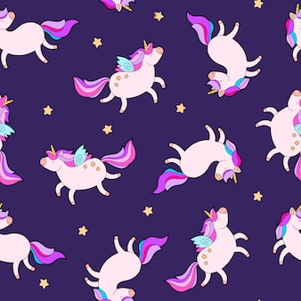 Fantasy fat unicorn horse pattern fabric design.