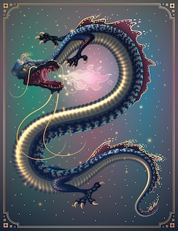 Fantasy fire breathing chinese flying dragon illustration with hieroglyph means