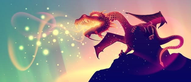 燃える炎の岩の上にファンタジーの火を吐くドラゴン