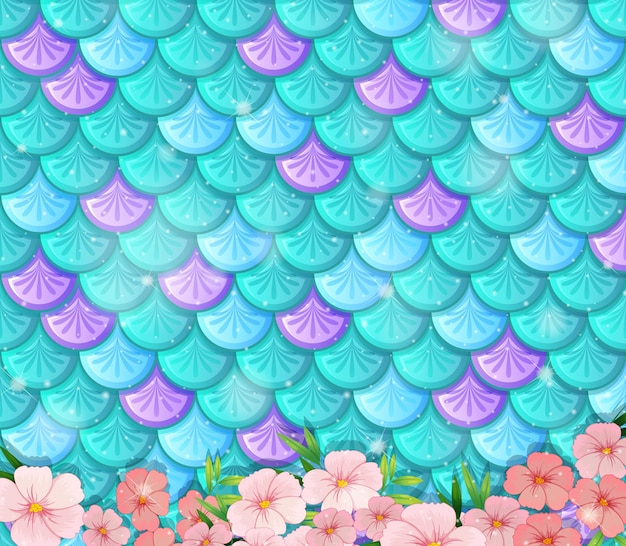 Fantasy fish scales seamless pattern with many flowers