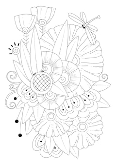 Fantasy flowers buds and a dragonfly art line coloring page illustration