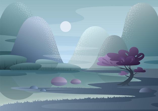 Фэнтези туманное утро японский пейзаж красивой сказочной природы с горами